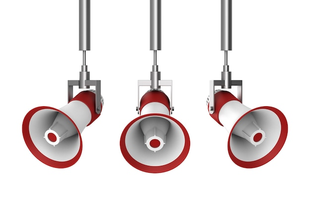 Tres megáfonos sobre fondo blanco. ilustración 3d aislada