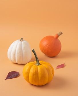 Tres pequeñas calabazas multicolores decorativas y hojas de otoño sobre una naranja