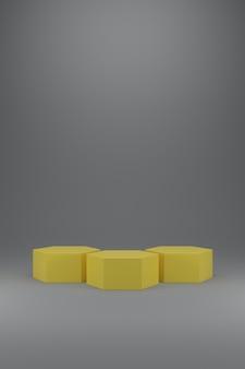 Tres podio hexagonal amarillo iluminante sobre fondo gris definitivo.