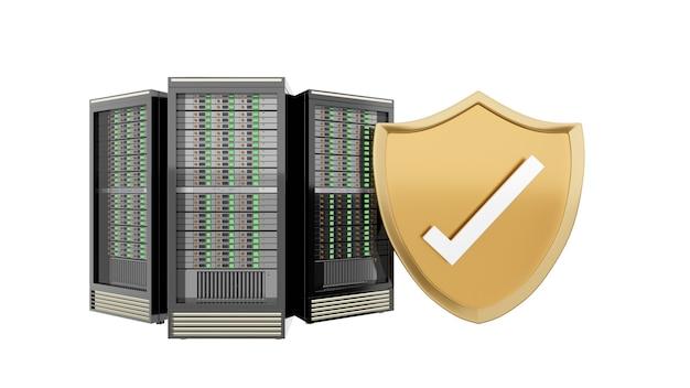 Tres racks de servidores de alojamiento con escudo dorado y marca de verificación. imagen de trazado de recorte de fondo blanco aislado. imagen de ilustración de render 3d.
