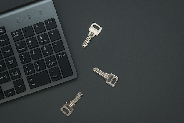 Tres teclas y un teclado. el concepto de seguridad informática. endecha plana.