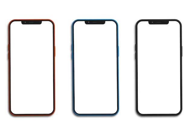 Tres teléfonos móviles con pantalla en blanco.