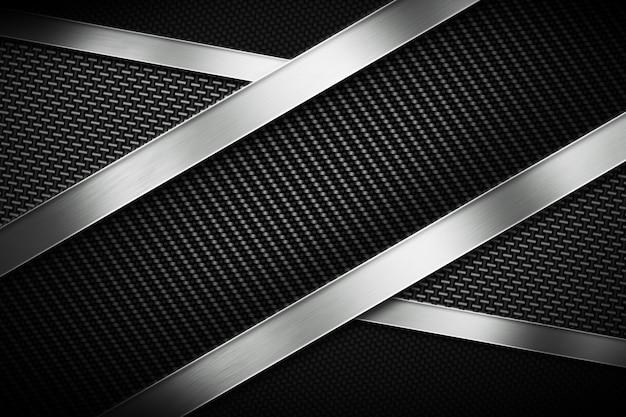 Tres tipos de fibra de carbono moderna con placa de metal pulido.