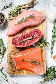 Tres tipos de filetes. cuchilla de res, filete de salmón y pechuga de pavo. pescado, aves y carne de vacuno ecológicos. fondo gris. vista superior.