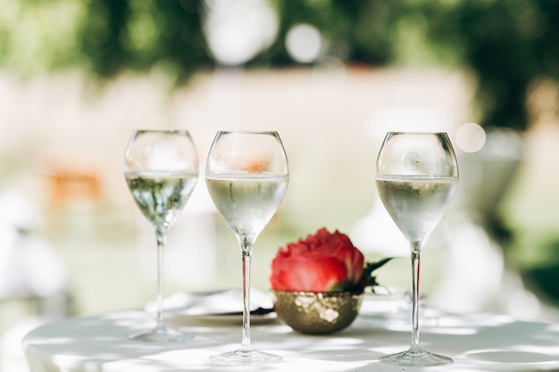 Tres vasos con agua y peonía roja sobre la mesa
