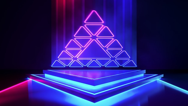 Triángulo de escenario con humo y luz de neón púrpura.