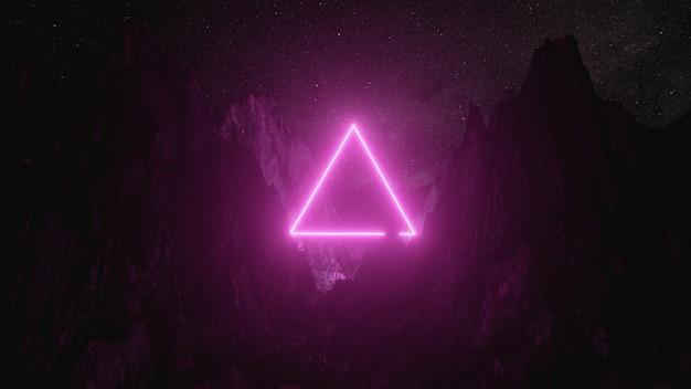 Triángulo de neón rosado brillante entre las montañas