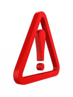 Triángulo rojo y signo de exclamación. representación 3d aislada
