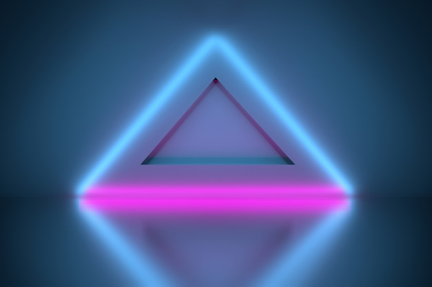 Triángulos brillantes de neón sobre el piso del espejo