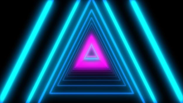 Triángulos de neón de luces abstractas 3d. animación en bucle.