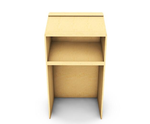 Tribuna de madera 3d rendering aislado sobre fondo blanco.