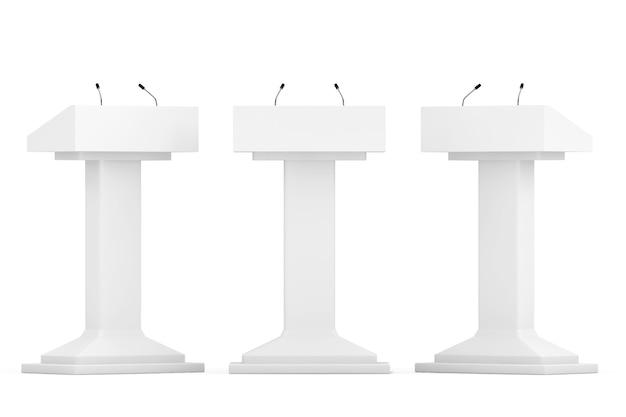 Tribuna del podio blanco se encuentra con micrófonos sobre un fondo blanco.