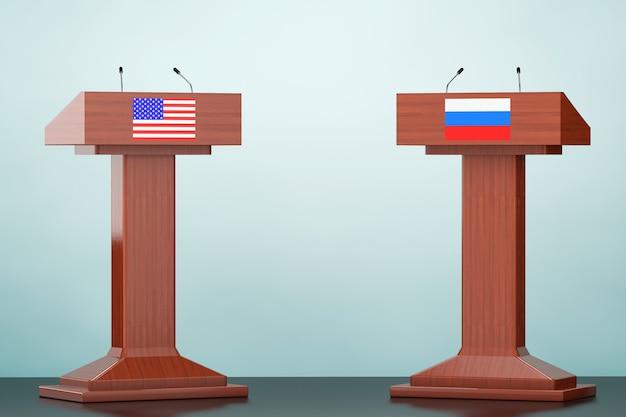 Tribuna de podio de madera se encuentra con banderas de estados unidos y rusia en el suelo