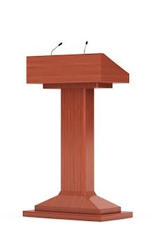 Tribuna de podio de madera stand con micrófonos sobre un fondo blanco.