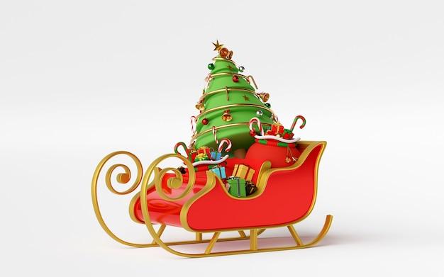 Trineo lleno de regalos de navidad y representación 3d del árbol de navidad