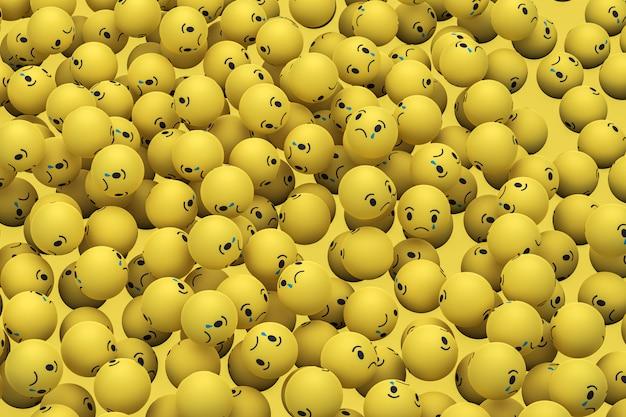 Triste facebook social media emoji 3d render fondo, símbolo de globo de redes sociales