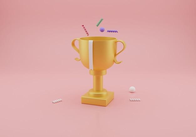 Trofeo de oro aislado. representación 3d