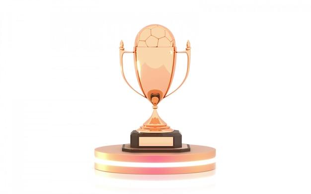 Trofeo de oro con balón de fútbol en el podio.