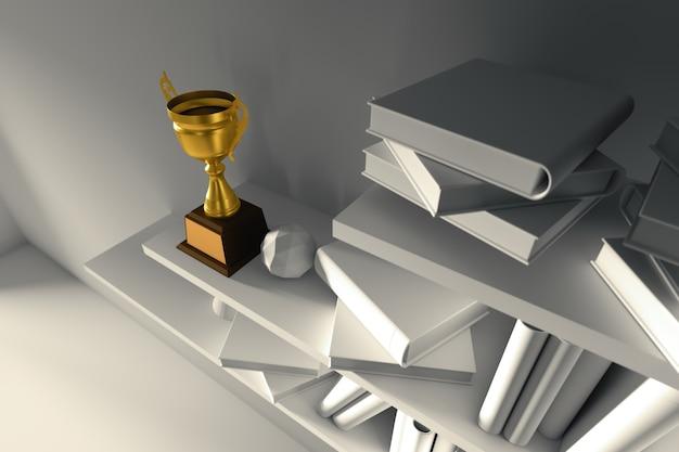 Trofeo de oro del campeón de la representación 3d colocado en el estante de libro interior vacío blanco en la noche.