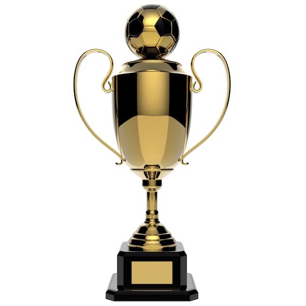 Trofeo de oro del premio de fútbol aislado en blanco con trazado de recorte