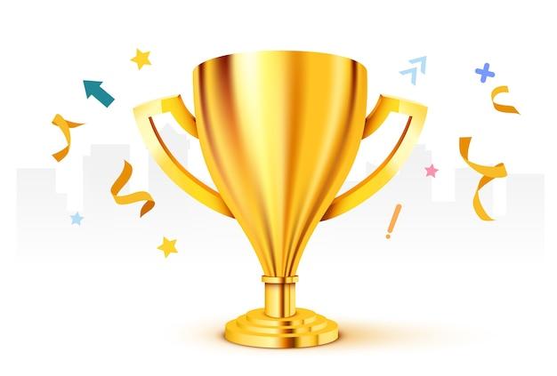 Trofeo de oro realista con ilustración de confeti