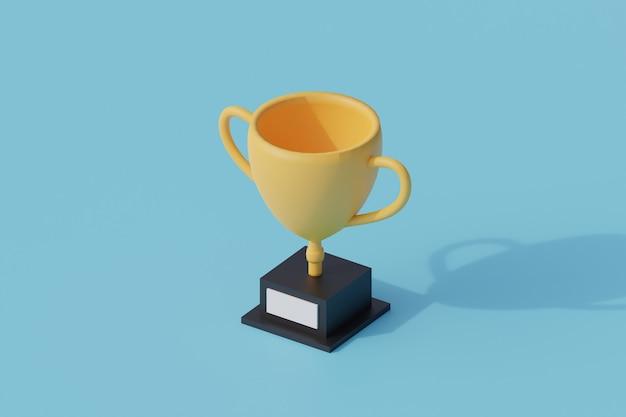 Trofeo de oro único objeto aislado. representación 3d