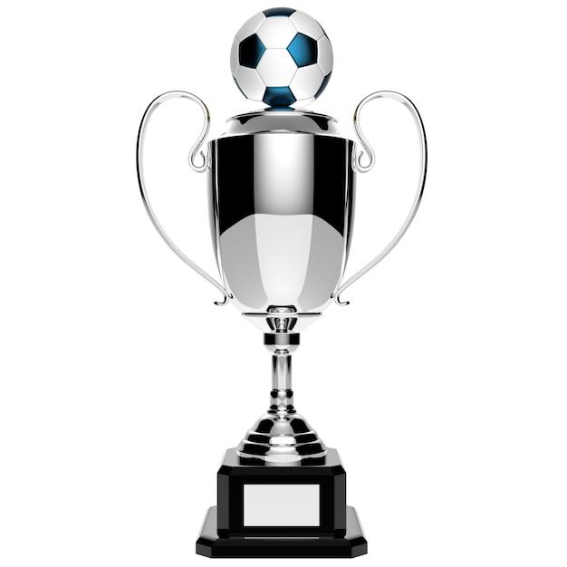 Trofeo de plata del premio de fútbol aislado en blanco con trazado de recorte