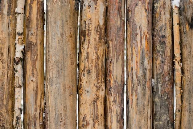 Troncos de pino tallado en la valla, fondo.