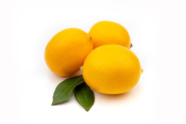 Trozos aislados de jengibre y limón. ingredientes de medicina natural, anti-influenza y antivirales sobre un fondo blanco.