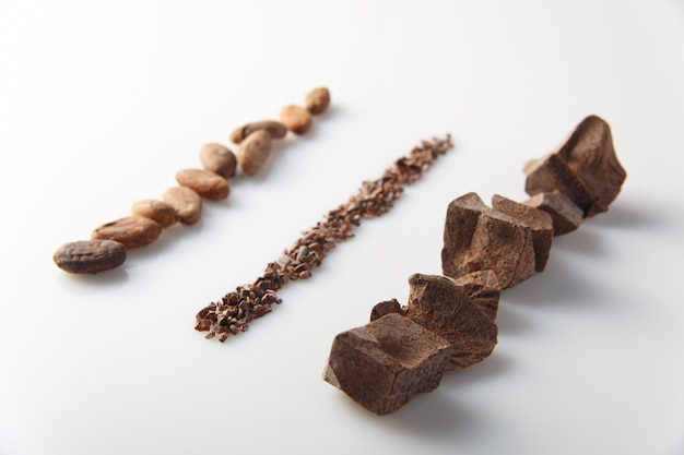 Trozos de chocolate con leche diferente