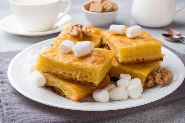 Trozos de delicioso pastel de calabaza