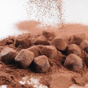 Trufas de chocolate con chocolate en polvo