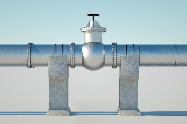 La tubería en una pared ligera, el transporte de petróleo y gas a través de tuberías. tecnología, política, materias primas, economía. copia espacio render 3d, ilustración 3d.