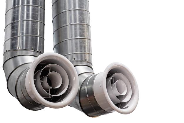 Tubo de aire doble grande futurista moderno o conducto de aire para aire acondicionado o sistema de ventilación de aire interior aislado