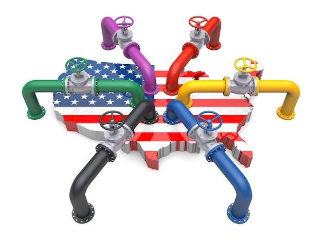 Tubo de color y valfe en el mapa de colores de la bandera de estados unidos. ilustración 3d