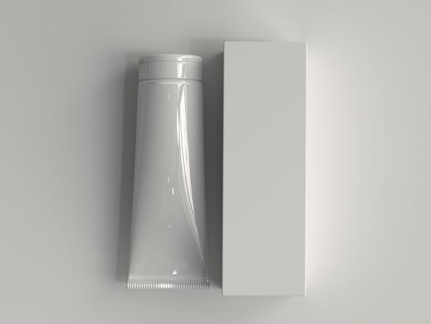 Tubo cosmético renderizado en 3d con caja sin etiqueta