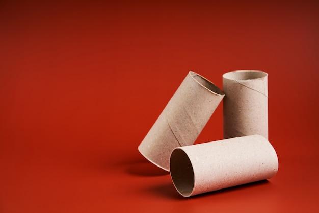 Un tubo de papel higiénico de cartón vacío.