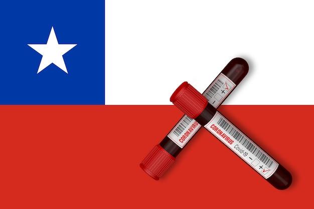Tubos de ensayo con la inscripción 2019-ncov en el fondo de la bandera de chile. representación 3d