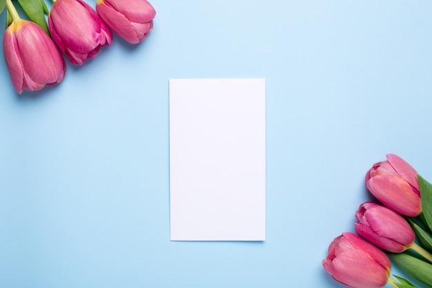 Tulipanes de flores rosas y tarjeta presente sobre una superficie azul