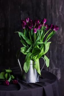 Tulipanes morados en una regadera de metal sobre fondo negro de mesa