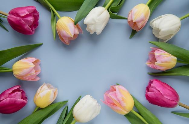 Tulipanes de primavera de colores sobre un fondo azul.
