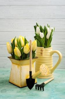 Tulipanes de primavera en florero amarillo y regadera