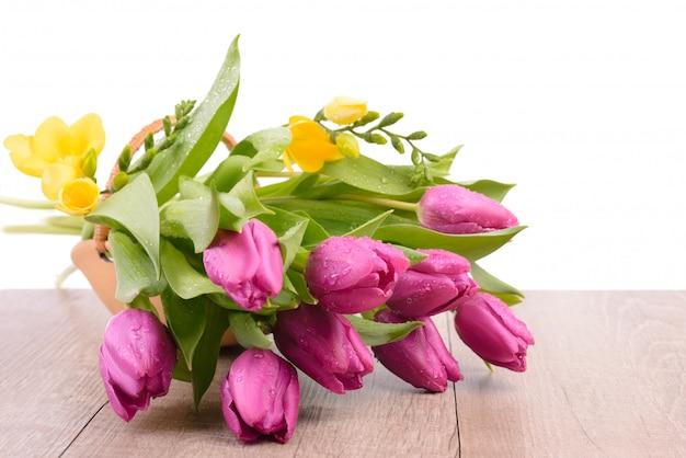 Tulipanes de primavera y fresia en una cesta