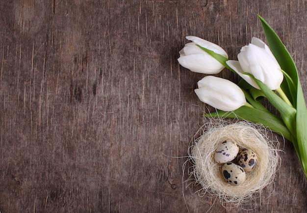 Tulipanes de primavera y huevos de codorniz en un viejo fondo rústico, pascua