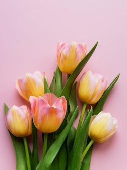 Tulipanes de primavera sobre una superficie rosa, concepto de regalo del día de la madre