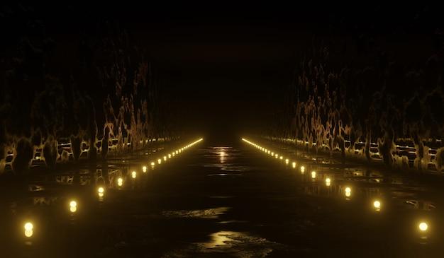 Túnel de ciencia ficción abstracta 3d con luz amarilla. ilustración 3d.