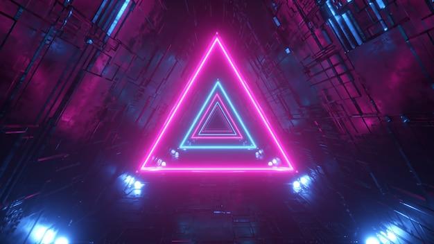 Túnel de ciencia ficción con triángulos de neón.