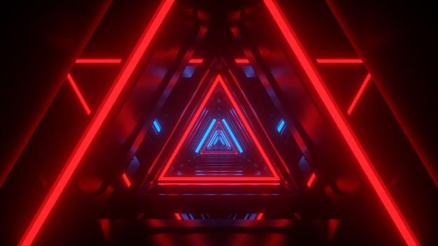 Túnel en el corredor de neón tecnológico de iluminación redblue render 3d