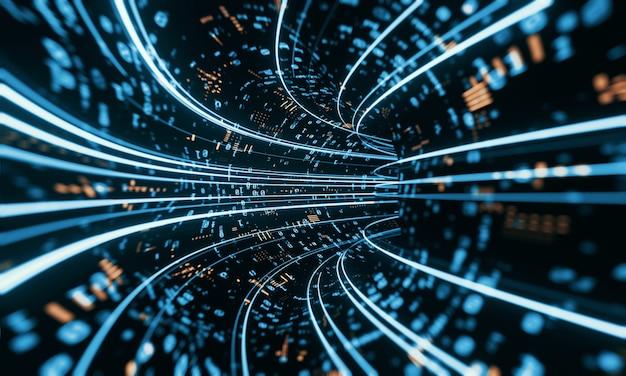 Túnel de datos binarios. concepto de visualización y minería de datos