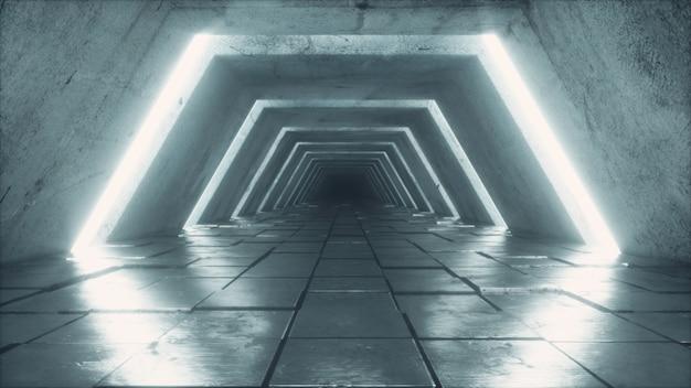 Túnel futurista con luces fluorescentes ultravioleta.